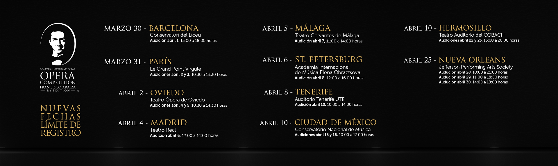 Extiende el Sonora International Opera Competition Francisco Araiza fechas de registro.